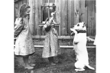 Laura and Miriam Kiehl playing with a neighbors dog outside of their residence, Fort Lawton,...