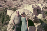 Anthony and Anita Jester Landreau standing in front of unspecified ruins