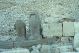 Statues of a lion and a headless eagle at Nemrut Dagi