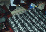 Black and white striped kilim with XX motif