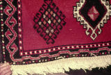 Braided fringe on a pile weave rug with scorpion motifs