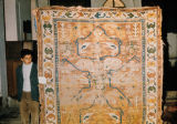 Large, worn pile weave rug with aegricanes, scorpion motifs, trees of life and stars