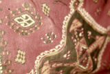 Close up of goat hair weft float brocade rug from Akcadag