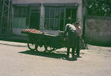 Man selling pomgranites from a hand cart