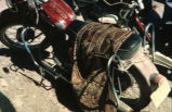 Brown and red saddlebag on motorcycle