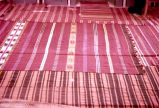 Closer view of striped kilims on a mosque floor