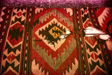 Close up of kilim with a hole