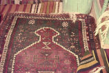 Closer view of prayer rug in TUR with comb and burdocks