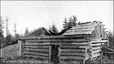 Arthur A. Denny cabin in ruins at Alki Point, West Seattle, n.d.