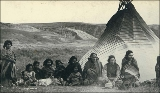 Piegan Indians in camp, probably Montana, ca. 1893.