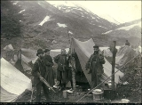 Camp of Presbyterian missionaries, Young and Dr. McEwan, on the Chilkoot Trail, probably British...