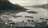 Bird's-eye view of  town and harbor of Wrangell, Alaska, ca. 1897.
