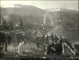 Boat building at Lindeman Lake, British Columbia, 1897.