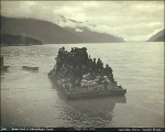 Scow with men and supplies being lightered from ship to shore in Dyea harbor, Alaska, 1897.