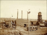 Western Mill Company plant on the south end of Lake Union, Seattle, Washington, ca. 1891.
