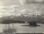 Pinnacle Mountain Range seen from Sitka, Alaska, ca. 1897.