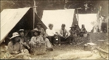 Indian camp, probably hop pickers, vicinity of Puget of Sound, Washington, ca. 1893.