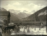 Glacier House hotel on the Canadian Pacific Railway at Glacier, British Columbia, ca. 1887.