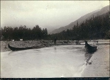 End of the navigable portion of the Dyea River by canoe about 6 miles north of Dyea, Alaska, 1897.