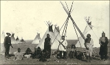 Cree Indians in camp, probably Montana, ca. 1893