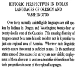 Historic Perspectives in Indian Languages of Oregon and Washington