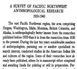 Survey of Pacific Northwest Anthropological Research, 1930-1940