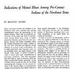 Indications of Mental Illness Among Pre-Contact Indians of the Northwest States