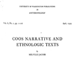 Coos narrative and ethnologic texts