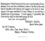 C.Letter of Charles Hutchins, Indian Agent, W. T.