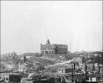 Looking northwest from 4th Ave. and Pike St. toward the Washington hotel, Seattle, Washington,...