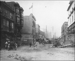 Looking south on 3rd Ave. from Seneca St. showing regrade activities, Seattle, Washington, October...