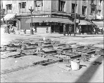 Northeast corner 4th Ave. and Pine St. showing regrade work and streetcar tracks, Seattle,...