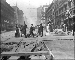 Northern view of 2nd Ave. from Madison St. showing regrade work, Seattle, Washington, August 31,...