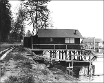 Residence built on pilings on the shore of Lake Washington, north of Madrona Park., Seattle,...