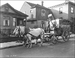 Horse drawn garbage wagon of the Department of Health and Sanitation, Seattle, Washington, October...