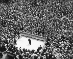 Mayor John F. Dore addressing a labor rally of unemployed persons at the City Hall Park, Seattle,...