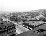 Bird's-eye view looking northeast from 4th Ave. and Olive St., Seattle, Washington, June 1910.