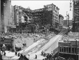 Lincoln Hotel after the fire, looking northeast from 3rd Ave. and Madison St., Seattle,...