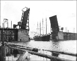 Ballard Bridge with open drawbridge to allow passage of a ship, Seattle, Washington, March 13,...