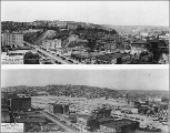 Before and after pictures of the Denny Regrade in progess from 1928 to 1931, Seattle, Washington.