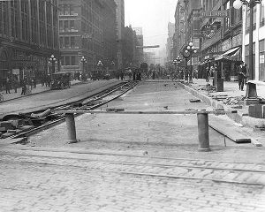 Northern view of 2nd Ave. from Yesler Way showing regrade work, Seattle, Washington, August 24,...