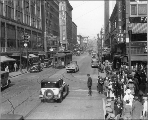 Eastern view on Pike St. from 3rd Ave., Seattle, Washington, ca. 1930.