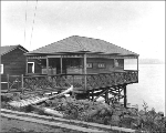 Residence built on pilings on the shore of Lake Washington, north of Madrona Park, Seattle,...