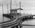 Dock for the Seattle Electric Company streetcar on the shore of Lake Washington, north of Madrona...