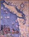 Smith Room Mural #2: A Chart of the Coast of N.W. America showing the Ships and Tracks of Capt....