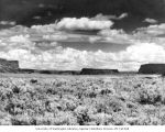 Steamboat Rock from highway, before creation of Banks Lake by Grand Coulee Dam filled the...