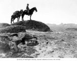 Forest Ranger Harvey Albertson looking for forest fires from Bauerman Ridge, September 1920