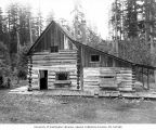 Lindsley family log cabin near present day site of Northgate Center, Seattle, ca. 1895