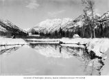 Fields Hotel on Lake Chelan after heavy snow, ca. 1910