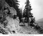 Lawrence Lindsley's horse near glacial rock slide, Lake Keechelus, 1901